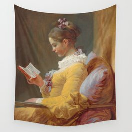 Young Girl Reading Painting by Jean-Honoré Fragonard Wall Tapestry
