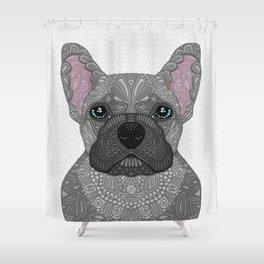 Blue French Bulldog Shower Curtain