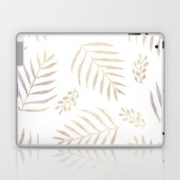 Christmas golden trees pattern in violet Laptop & iPad Skin