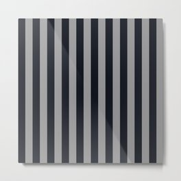 Vertical Stripes Black & Cool Gray Metal Print