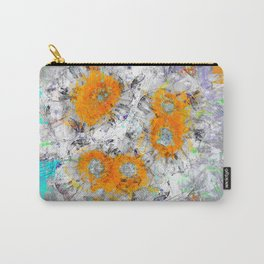 Abstract Floral Mixed Media Watercolor Ink Painting , orange & aqua Carry-All Pouch