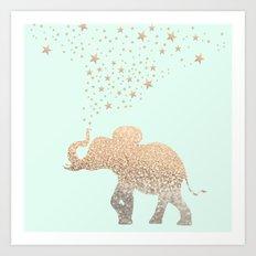 ELEPHANT - GOLD MINT Art Print