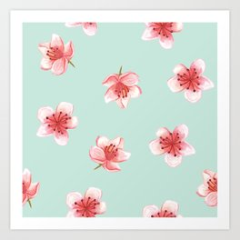 Pink Cherry Blossoms On Pastel Robin's Egg Blue Continuos Pattern Art Print