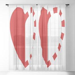 Micah Mason Foundation Red Heart Sheer Curtain