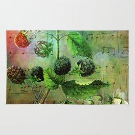 Blackberry Music, Vintage Botanical Illustration Collage Art Rug