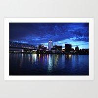 cincinnati Art Prints featuring Cincinnati Skyline by  Rikki