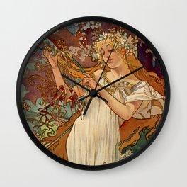 SPRING by Alphonse Mucha Wall Clock