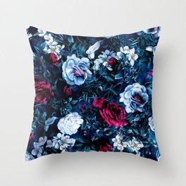 Night Garden Blue Throw Pillow