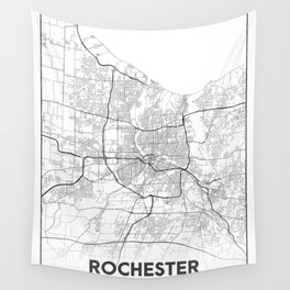 Minimal City Maps - Map Of Rochester, New York, Untited States Wall Tapestry