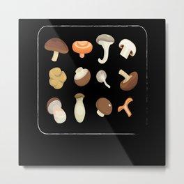Types Of Mushrooms Mushroom Collecting Fungi Metal Print