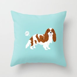 Cavalier King Charles Spaniel blenheim funny farting dog breed gifts Throw Pillow