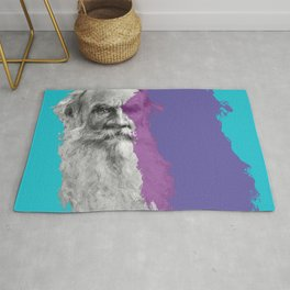 Leo Tolstoy portrait blue and purple Rug