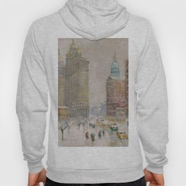 City Hall Park, The New York Scene, NYC skyline winter landscape painting by Guy Carleton Wiggins Hoody