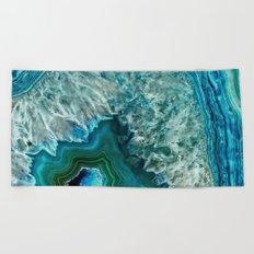 Aqua turquoise agate mineral gem stone- Beautiful backdrop Beach Towel
