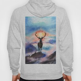 Deer on the top of the World - Watercolor Painting Art Hoody