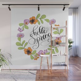 Hello Spring With Floral Wreath Wall Mural