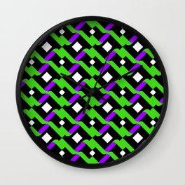 Abstract Green Purple Pale Pop Art Pattern Art Wall Clock