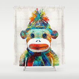 Sock Monkey Art - Your New Best Friend - By Sharon Cummings Shower Curtain