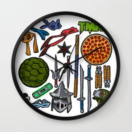 TMNT Weapons & Masks Wall Clock