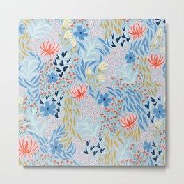 Picking Flowers - Light Blue Metal Print