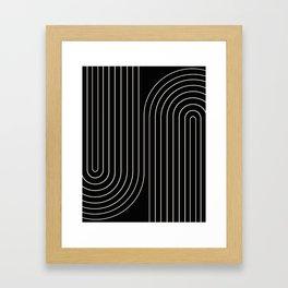 Minimal Line Curvature - Black and White II Framed Art Print