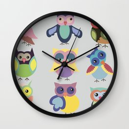 Set of cute colorful owls Wall Clock