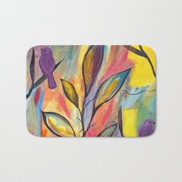 Watching And Waiting Abstract Bird Painting Bath Mat