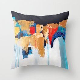 Abstract painting, gold leaf Throw Pillow