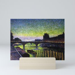 The Louvre, Pont du Carrousel, River Seine, Paris green twilight cityscape painting by Maximilien Lu Mini Art Print