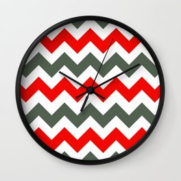 Chevron Pattern In Poppy Red Grey and White Wall Clock