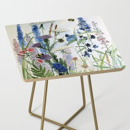 Wildflower in Garden Watercolor Flower Illustration Painting Side Table