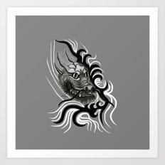 Dragon in Tattoostyle , black - white and grey Design Art Print