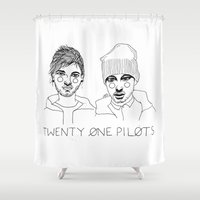 tyler spangler Shower Curtains featuring Josh/Tyler by ☿ cactei ☿
