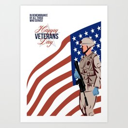 Modern American Veteran Soldier Greeting Card Art Print