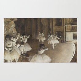 Ballet Rehearsal on Stage by Edgar Degas Rug
