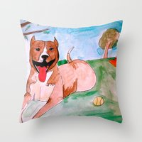 pit bull Throw Pillows featuring Pit Bull by Caballos of Colour