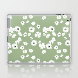 Modern floral on dusty green ground Laptop & iPad Skin