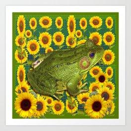 AVOCADO GREEN BOG FROG & YELLOW FLOWERS Art Print