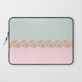 Vintage green pastel pink yellow floral polka dots Laptop Sleeve