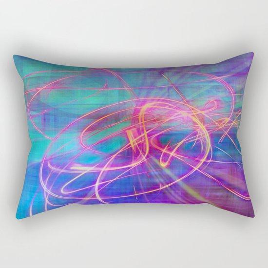 Electric Neon Swirls of Light Abstract Rectangular Pillow