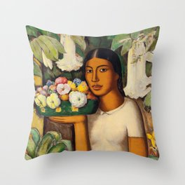 Mujer con Fiores (Bell Flowers, Dahlia & Calla Lilies) Flower Seller portrait by Alfredo Martinez Throw Pillow