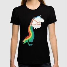 Fat Unicorn on Rainbow Jetpack Black MEDIUM Womens Fitted Tee