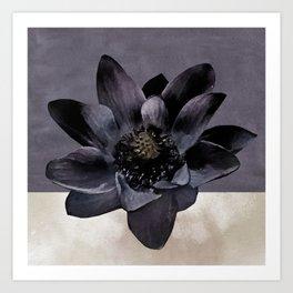 Black Lotus Watercolor Digital Art 2 Art Print