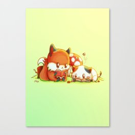 Bookish Fox and Cat Friends Canvas Print