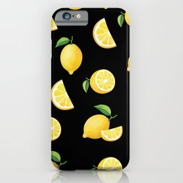 Lemons on Black iPhone Case