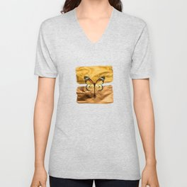 Gold and copper butterfly Unisex V-Neck