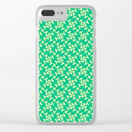Quarters Butter Cream Yellow Abstract Geometric on Turquoise Spring Green Design Pattern Clear iPhone Case