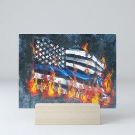 Blue Line In Flames Mini Art Print