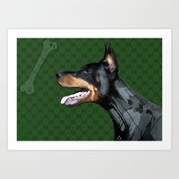 doberman Art Prints featuring Doberman by Miguel de Elena