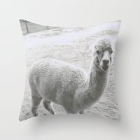 llama Throw Pillows featuring Llama by Cat In The Sorting Hat